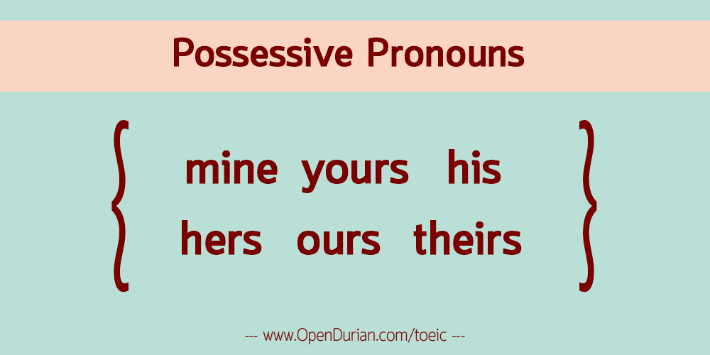 Possessive Pronouns: mine yours his hers ours theirs